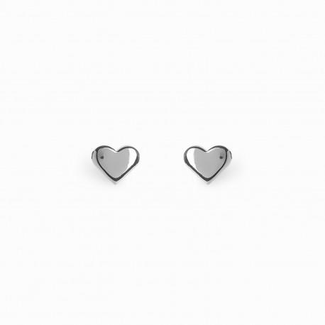 Full Heart Silver Earrings