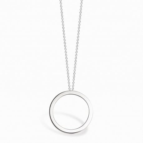 Geometric Circle Silver Necklace
