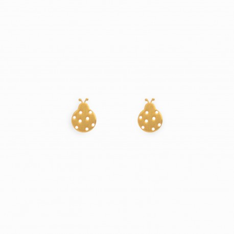 Nature Ladybug Golden Earrings