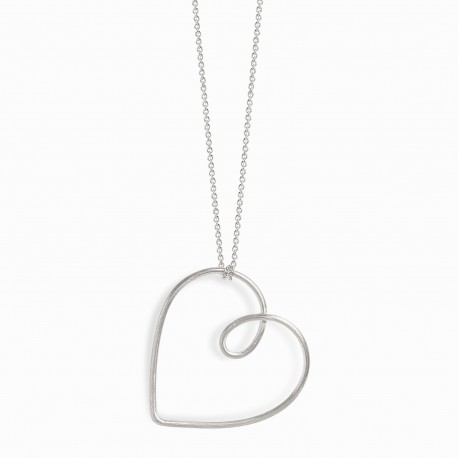 Love Heart Wire Silver Necklace