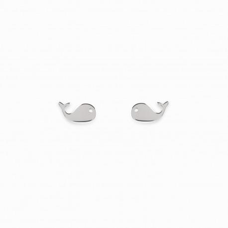 Mini Coquine Whale Silver Earrings