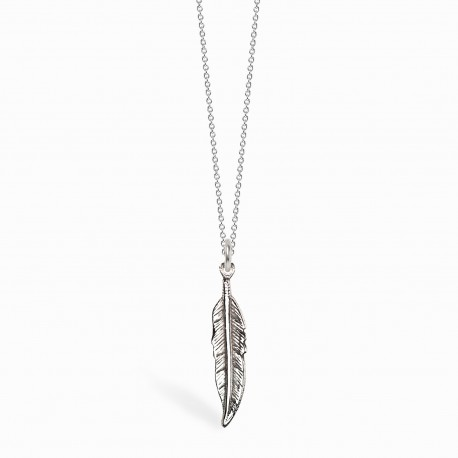 Boho Feather Silver Necklace
