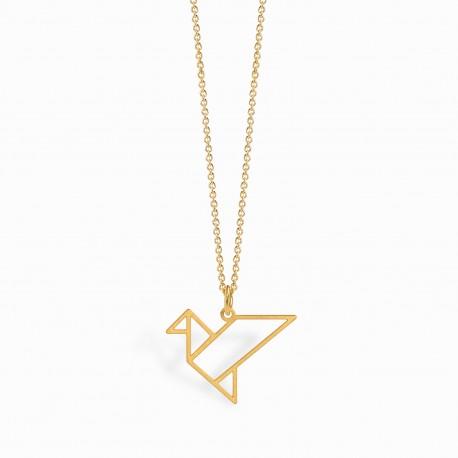 Origami Tsuru Golden Necklace