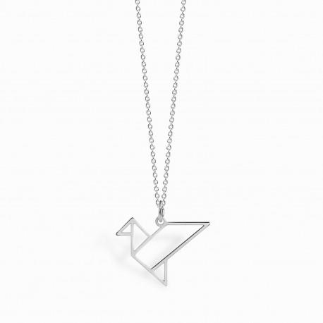Origami Tsuru Silver Necklace
