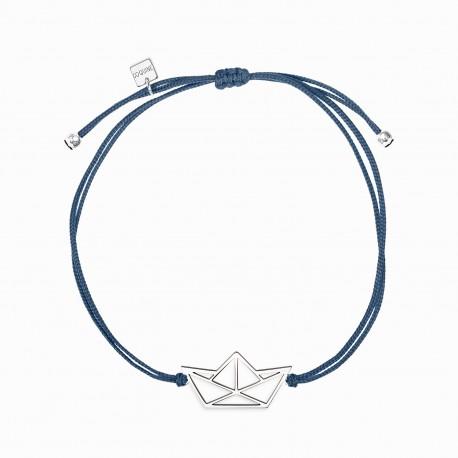 Origami Boat Silver Linen Bracelet