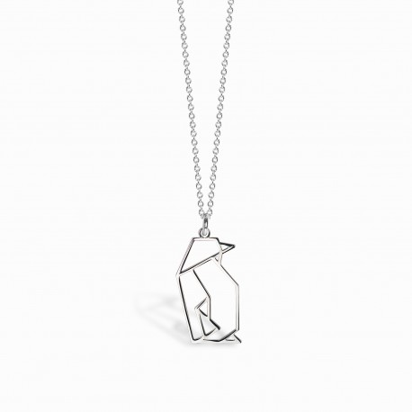 Origami Penguin Silver Necklace