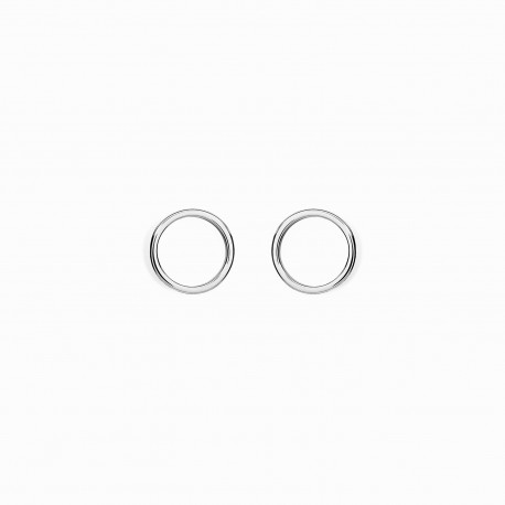 Geometric Circle Silver Earrings
