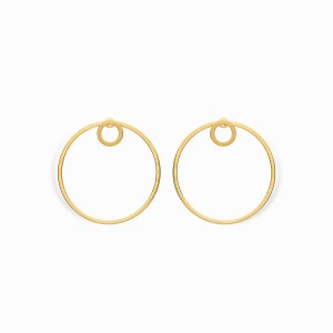 Linear Double Circle Golden Earrings