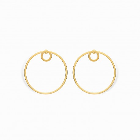 Geometric Double Circle Golden Earrings