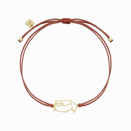 Origami Penguin Golden Linen Bracelet