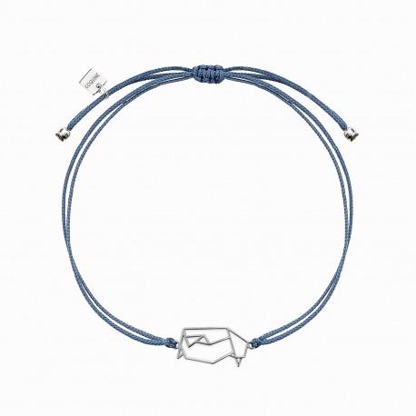 Origami Penguin Silver Linen Bracelet