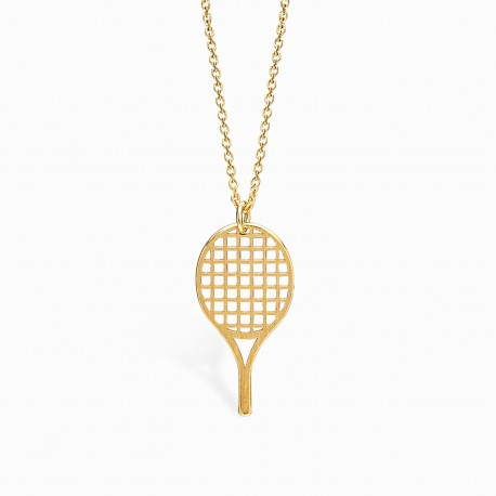Life Tennis Racket Golden Necklace