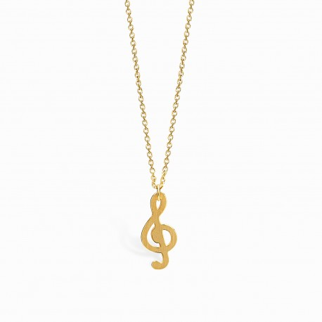 Life Treble Clef Golden Necklace