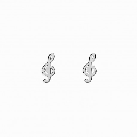 Life Treble Clef Silver Earrings