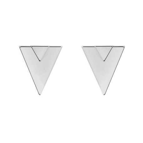 Geometric Double Triangle Silver Earrings