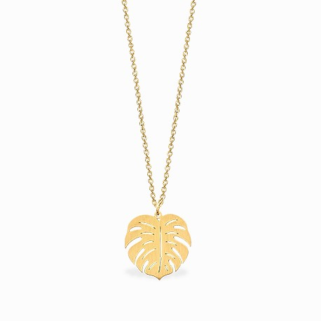 Boho Monstera Golden Necklace