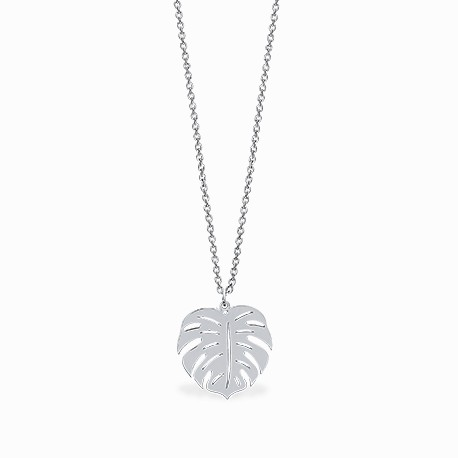 Boho Monstera Silver Necklace