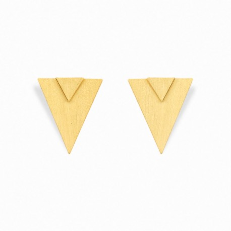 Geometric Double Triangle Golden Earrings