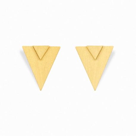 Brincos Geometric Triângulo Duplo Dourados