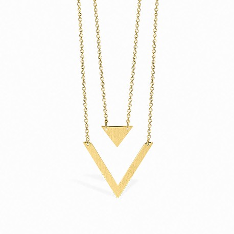 Geometric Double Triangle Golden Necklace