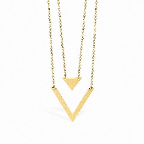 Colar Geometric Triângulo Duplo Dourado