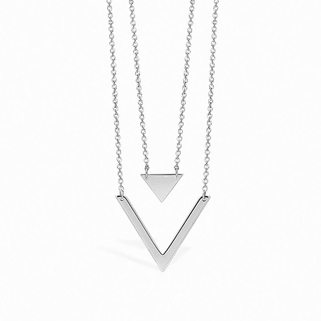 Geometric Double Triangle Silver Necklace