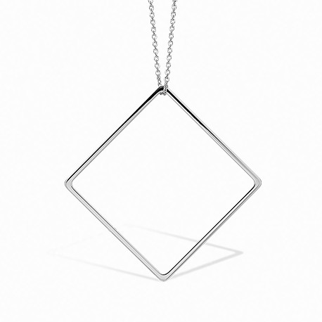 Linear Square Silver Necklace