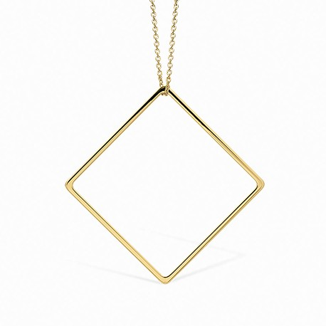 Linear Square Golden Necklace