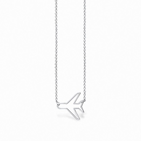Life Airplane Silver Necklace