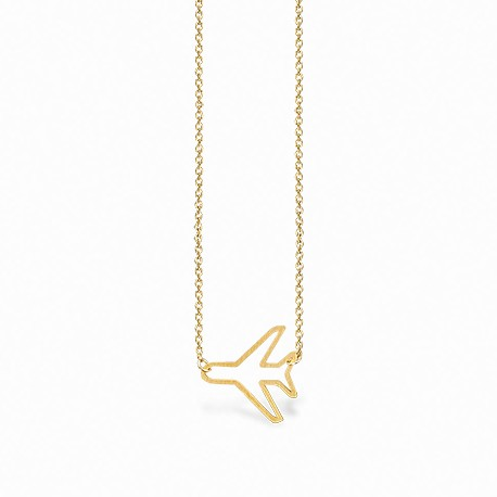 Life Airplane Golden Necklace