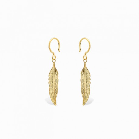 Boho Feather Golden Earrings