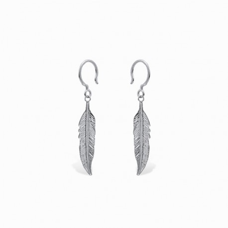 Boho Feather Silver Earrings