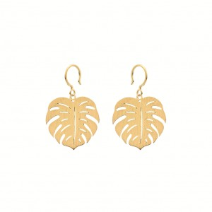 Boho Monstera Golden Earrings