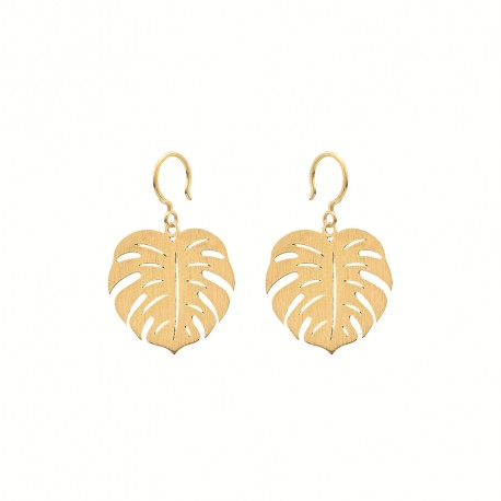 Boho Monstera Golden Earrings