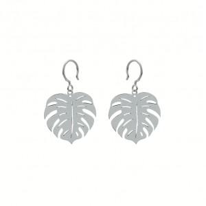 Boho Monstera Silver Earrings
