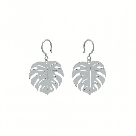 Boho Monstera Silver Earrings