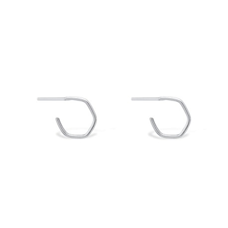 Back to Basics Hexagon Silver Hoops