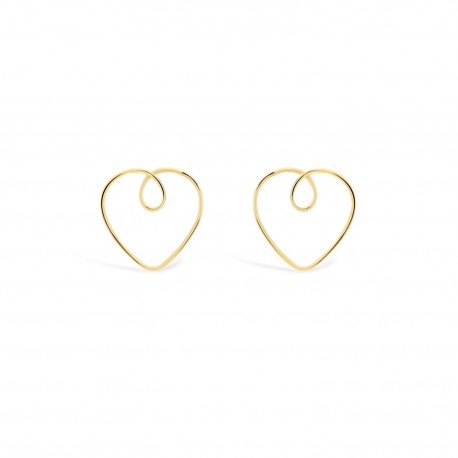 Love Heart Wire Golden Earrings