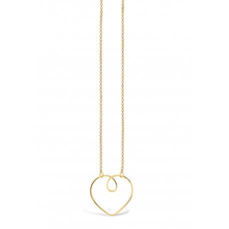 Love Heart Wire Golden Necklace