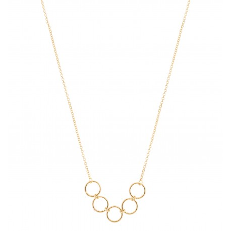 Basic 5 Rings Golden Necklace