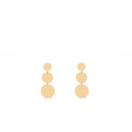 Back to Basics 3 Circles Golden Earrings