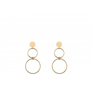 Basic 1 Circle and 2 Rings Golden Earrings