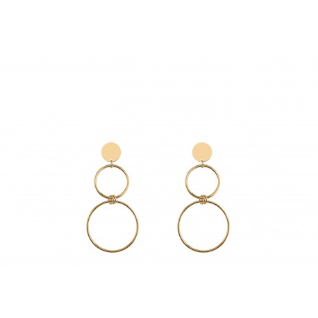 Back to Basics 1 Circle and 2 Rings Golden Earrings