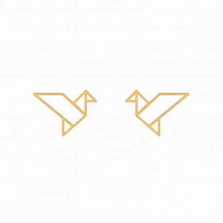Origami Tsuru Golden Earrings