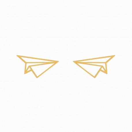 Origami Airplane Golden Earrings