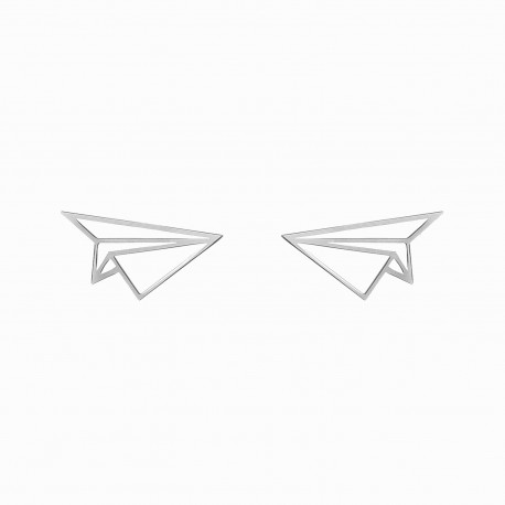 Origami Airplane Silver Earrings