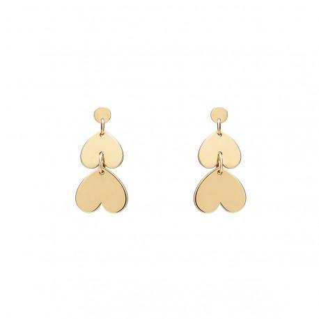 Love 2  Hearts Golden Earrings
