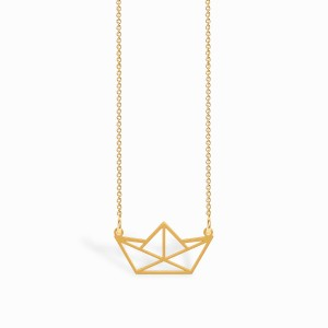 Origami Boat Golden Necklace