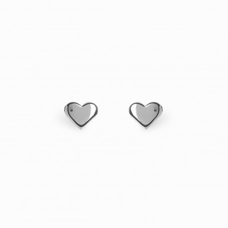 Full Heart Silver Earrings