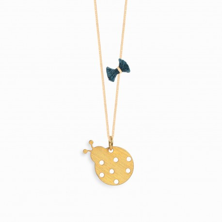 Nature Ladybug Golden Linen Necklace